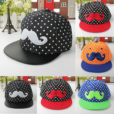 Kids Child Canvas Beard Embroidery HipHop Baby Baseball Cap Snapback Peaked Hat
