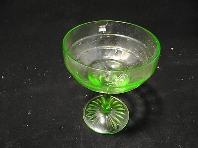DEPRESSION GLASS HOCKING CO  GR BLOCK OPTIC SHERBET