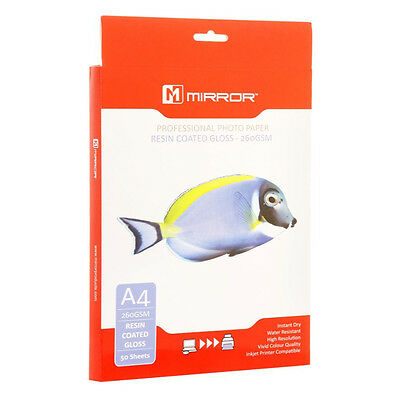 Mirror 260Gsm Premium Resin Coated Gloss Inkjet Photo Paper - A4 - 50 Sheets
