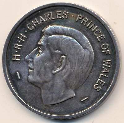 U.K. Prince Charles Prince of Wales Investiture Medal 1969,toned Sterling Silver