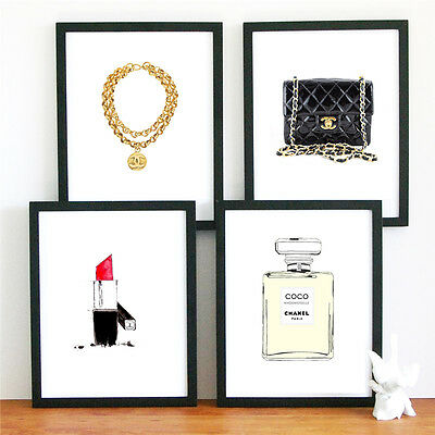 4 chanel gold watercolor limited edition art Print wall hanging home decor