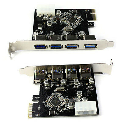 4-Port USB 3.0 To PCI-E Card Express Expansion Card Adapter VIA 5Gbps Free Ship