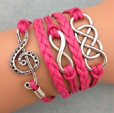 NEW Retro Infinity Music note ring Leather Charm Bracelet plated Silver Rose