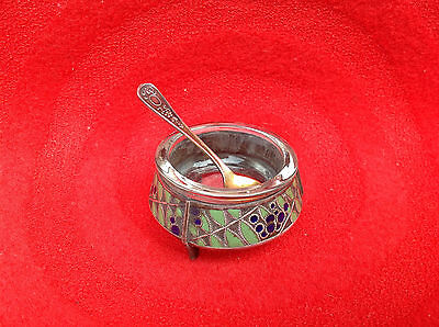 Old Vintage Soviet USSR Russian Enamelled Salt Cellar with Spoon Tableware