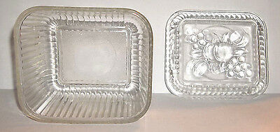 Federal Glass Vegetable Refrigerator Clear Storage Dish w/ Lid
