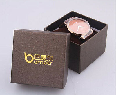 Bamoer Brown Paper Gift Box for Watch Wristwatch Packaging 8*8*6CM BZ0015