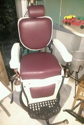 Vintage Barber Chair cast iron, leather