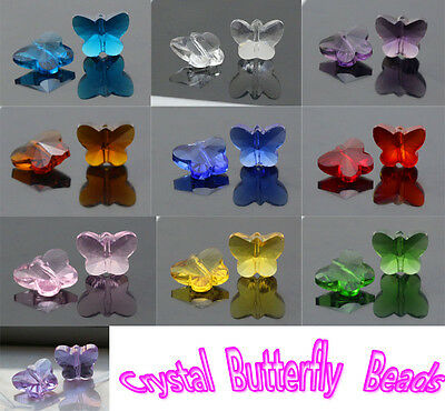 50 PCS NEW Butterfly Faceted Glass crystal mixed color beads 10 colors