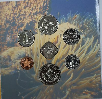 1989 Bahamas Mint Set 7 Coins Brillant Uncirculated with National Anthem Card