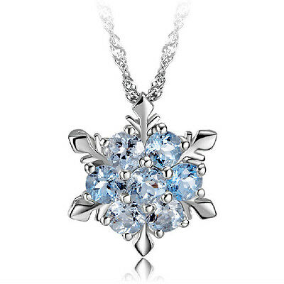 925 STERLING SILVER SWAROVSKI Elements SnowFlake Frozen PENDANT CHAIN Necklace