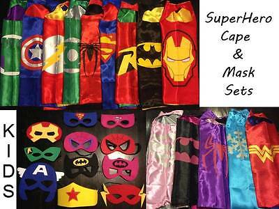 Kids SuperHero Satin Cape Felt Mask Costume Fancy Dress Up Imaginative Play FUN