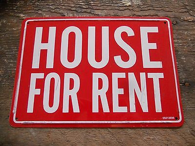 "* Vintage Red / White "" House for Rent "" Realtor Metal Sign 10"" x 7"" *"