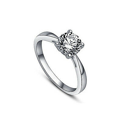 925 Sterling Silver 4 Prong 0.25 Ct. Solitaire Diamond Engagement/Wedding Ring