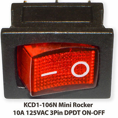 (5PCs) KCD1-102N Mini Rocker RED With Lamp 10A 125VAC 3Pin SPST ON-OFF Switch
