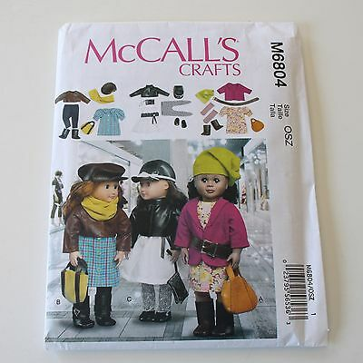 """McCalls 6804 Doll Clothes Accessories Pattern Uncut 18"""" Girl Modern American"""
