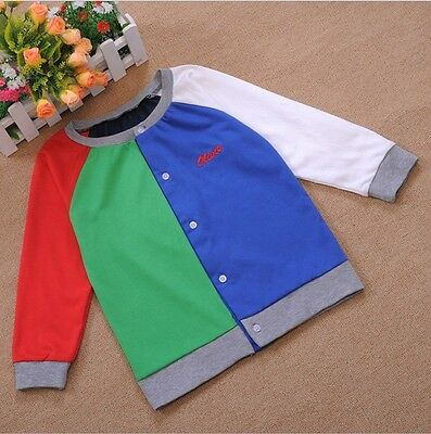 Toddler Boy Girl Kids Clothes Baby Child Tops Knit Cardigan T-shirts 1PC Blue