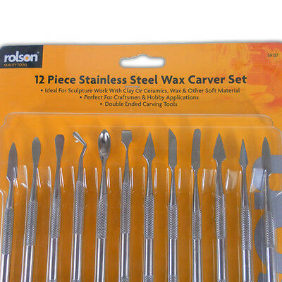 12 Stainless Steel Wax Carver Set - Sculpture Art Tools Work Carving Craft Hobby