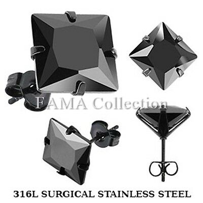 FAMA Black Stainless Steel Stud Earring with Princess Cut Black CZ Select Size
