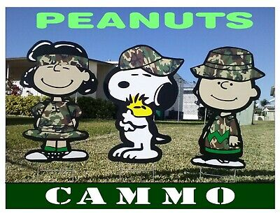 charlie brown peanuts combo christmas military yard lawn art decorations
