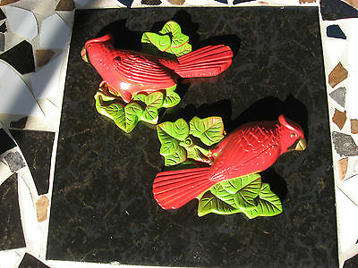 Miller Studios, Pair of Red Cardinals, Chalkware Plaques, Signed 1972