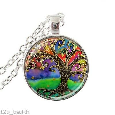 TREE of LIFE Earth Vintage Art Style Glass Cabochon Silver Pendant FREE Necklace