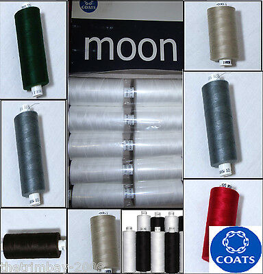 Coates Moon 120s Sewing Machine Polyester Thread Cotton 1000yds - Many Colours