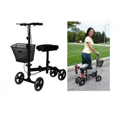 Steerable Turning Knee Scooter, Walker, Crutch, Ankle, Foot. Red Color, Basket