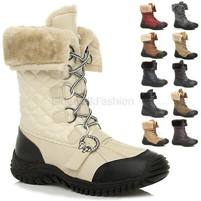 Womens ladies low heel fashion flat snow winter fur lace up calf boots size