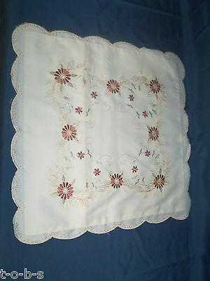 Vintage Chic Embroidered stitched Pillow Shabby cover Petite Flowers leaves 18""
