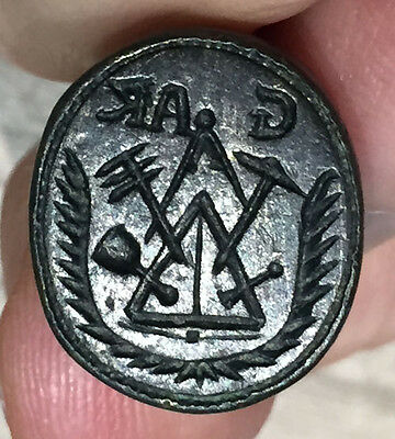 MASONIC MATRIX WAX SEAL. MATRIZ DE SELLO MASONICO. EARLY 18th CY. VERY RARE !