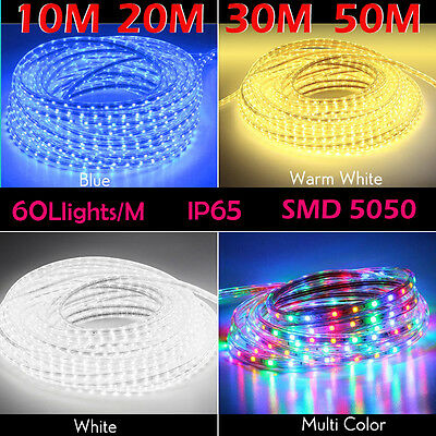 10M 20M 30M 50M Party Christmas Lights Wedding Rope Light Waterproof  White Blue
