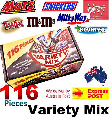 116 Fun Size Variety Mix 1.7kg Mars Snickers Twix M&Ms Bounty Maltesers MilkyWay