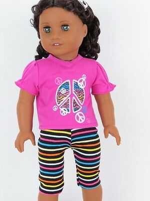 Pant Set 18 in Doll Clothes Fits American Girl Peace Sign T Shirt