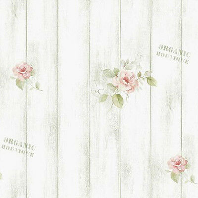Wood Panel Wallpaper Rose Pattern Whitewash Rustic Plank Wall Covering Ideas