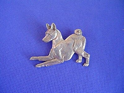 Basenji Pin PLAYING #40H Pewter dog jewelry by Cindy A. Conter sighthound scent