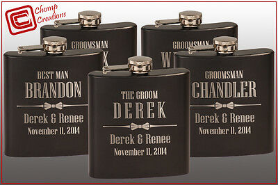 Groomsmen Gift - 6 Personalized Hip Flasks - Custom Wedding Party Bridesmaid