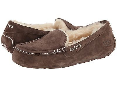 c544c1a73ad UGG AUSTRALIA ANSLEY Chocolate Brown Suede Moccasin Slippers Slip On ...