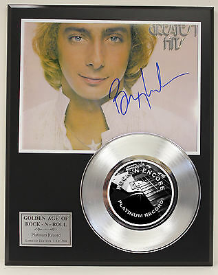 Barry Manilow Platinum Record Ltd Edition Signature Series  Ships Us Free