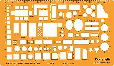 1:50 Metric Architectural Furniture Layout Drawing Drafting Template Stencil