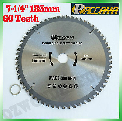 "Circular Saw Blade(185mm) 7-1/4""x 60 Teeth Timber Aluminum Alloy Plastic Cutting"