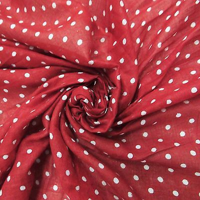 """Pure Cotton Fabric Polka Dot Print 42""""Wide Sewing Material By The Yard India"""