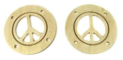 """2pc. Wood Sound Hole Covers for Cigar Box Guitar: 2.5"""" Peace Sign 32-125-01"""