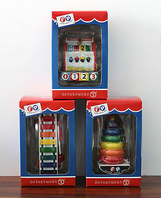 Dept 56 Fisher Price Xylophone Cash Register Rock A Stack Christmas Ornament Set