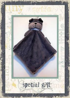 NEW CARTERS GRAY PUPPY DOG LOVEY WITH GREY SECURITY BLANKET BLUE COLLAR NWT HTF
