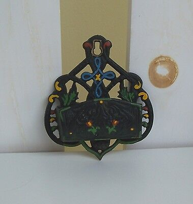 Vintage Painted Cast Iron Match Holder Wilton Wall Mount