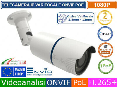 TELECAMERA IP 2 MPX  VARIFOCALE 2,8-12 mm  FULL HD 1920 X 1080 ONVIF POE CLOUD