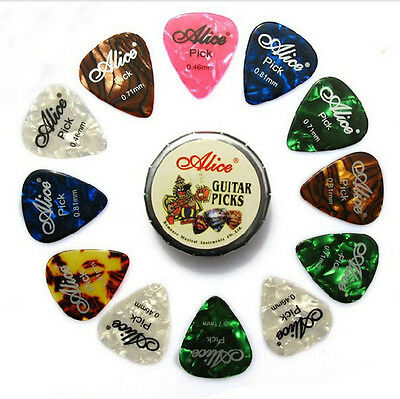 12 Pcs Acoustic Electric Guitar Picks Plectrums Mix Color Thickness In Metal Box