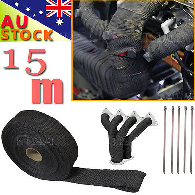 50MM X 15M BLACK EXHAUST HEAT WRAP 2000F + 10 STAINLESS STEEL TIES  AU Local