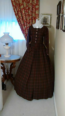 Civil War Reenactment Day Dress Size 14 Red and Black Plaid