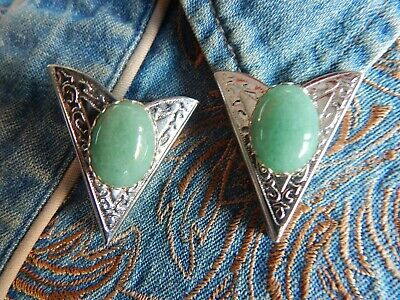 New Pair Of Aventurine Green Collar Tips Silver Metal,western,cowboy Goth Unisex